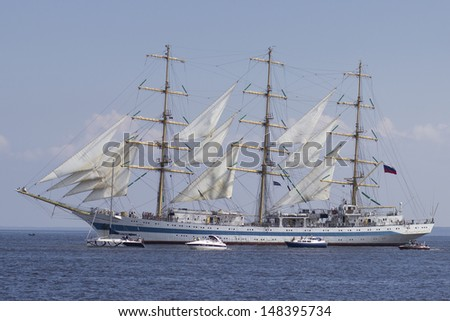 "RIGA, LATVIA - JUL 28: Russian tall ship Mir visits Riga during ""The Tall Ships Races 2013"" on July 28, 2013, in Riga, Latvia"