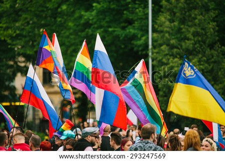 Riga, Latvia - June 20, 2015: EuroPride Riga 2015 parade was attended by more than 5000 participants from all over the world #293247569