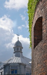 Riga, Latvia. Powder Tower wall and old building