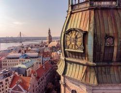 Riga, Latvia. Riga Cityscape In Sunny Summer Day. Famous Landmark - Riga Dome Cathedral aerial shot from drone