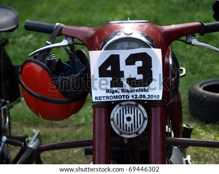 RIGA, LATVIA - SEPTEMBER 12: Retro Moto 2010 - Retro motorcycle with start number, Sep 12, 2010 at Bikernieki motor sports track, Riga, Latvia