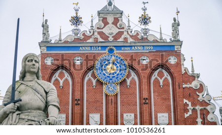Riga Latvia Square Plaza Clock Tower. One the main sites and attraction ins the city for visitors to see