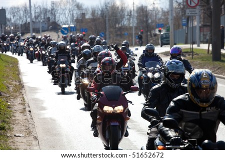 RIGA - MARCH 16: Motorcycle Season opening parade with thousands of participants. April 24, 2010, Riga, Latvia.