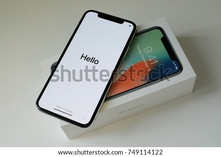 RIGA, NOVEMBER 1 - Newly launched Apple iPhone X is displayed for editorial purposes