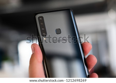 RIGA, OCTOBER 2018 - Recently launched Samsung Galaxy A9 (2018) smartphone is displayed for editorial purposes