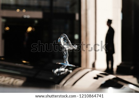 RIGA, SEPTEMBER 2018 - New Rolls-Royce Phantom luxury car is displayed for editorial purposes. Shallow focus and fine film grain effect