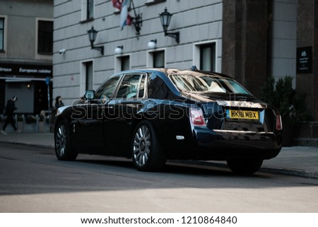RIGA, SEPTEMBER 2018 - New Rolls-Royce Phantom luxury car is displayed for editorial purposes. Shallow focus effect
