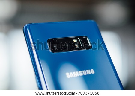 RIGA, SEPTEMBER 2017 - Samsung Galaxy Note 8 smartphone is displayed for editorial purposes.