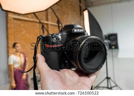RIGA, SEPTEMBER 2017 - The new Nikon D850 DSLR camera is displayed for editorial purposes.