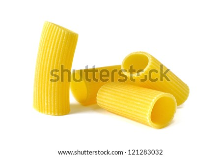 Rigatoni, italian pasta, white background