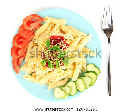 Rigatoni pasta dish with tomato sauce isolated on white