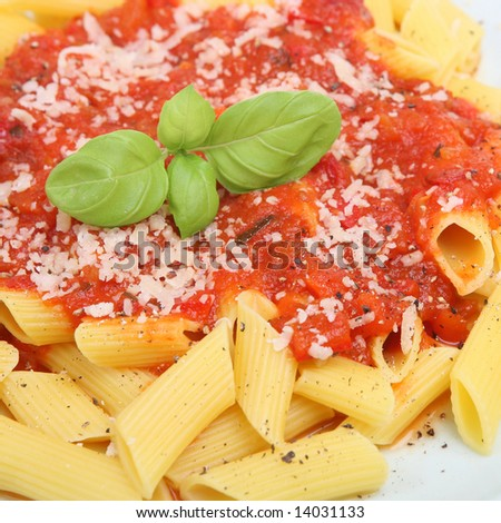 Rigatoni Pasta With Tomato Sauce, Parmesan And Ground Pepper Stock ...