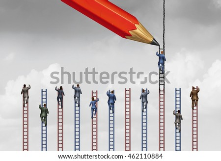 Rigged system or unfair business practice as a businessman or individual person being influenced by a helpful pencil drawing a higher ladder over his competition with 3D illustration elements.