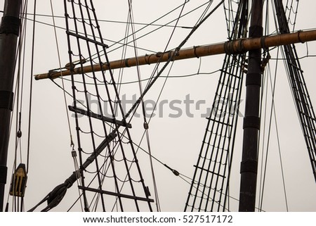 rigging and mast of old ship in detail