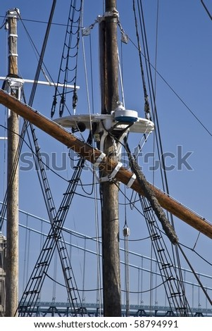 Rigging on a wooden sailboat docked in Philadelphia Pennsylvania along the Delaware River.
