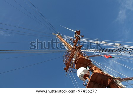 Rigging set. sheaves, pulleys, swivels, shackles, thimbles, strings and cables, in a classic wooden sailing ship