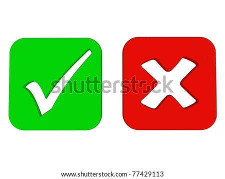 Right and wrong square check mark signs - stock photo