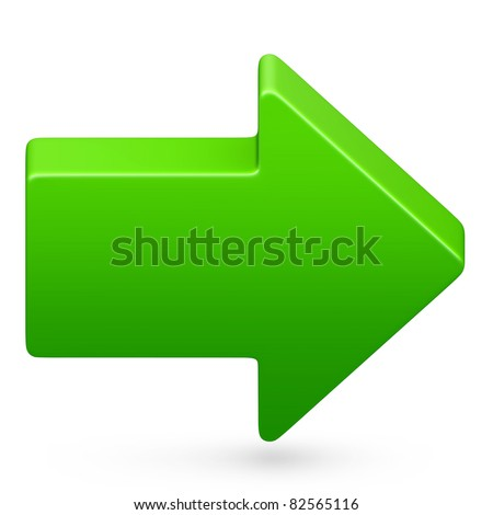 Right arrow icon in green on isolated white background. 3D render image and part of icon series.