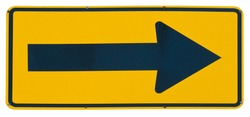 Right Arrow yellow metal road sign isolated on white