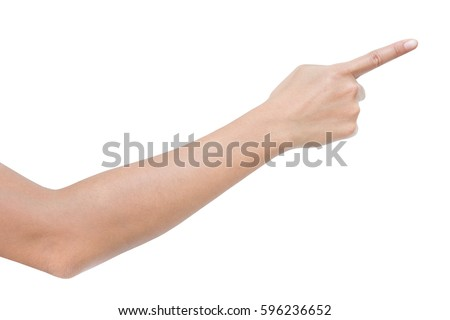 right back hand a woman, one, show forefinger, index finger, raise number, count sign. isolated over white background