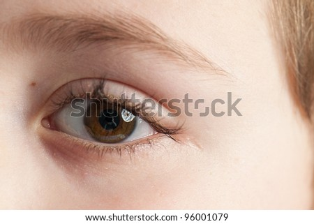 Right brown eye of child close up - stock photo