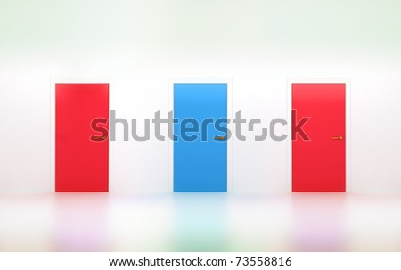 Right choice: three conceptual doors in abstract room