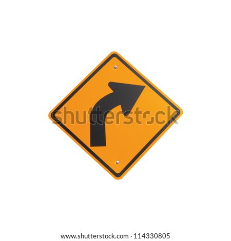 Right curve traffic sign on white