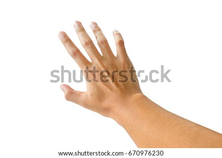 Right hand back view isolated on white with clipping path.