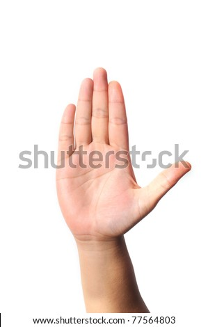 Right hand five fingers isolated with white background