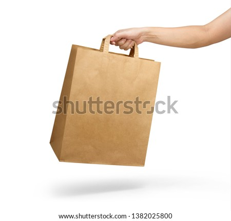 Right hand holding a brown paper bag with handle isolated on white