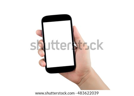 right hand holding black smartphone and blank screen isolated on white background with clipping path #483622039