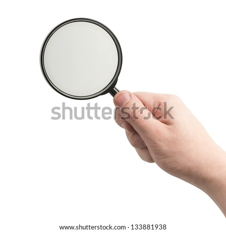 Right hand holding magnifying glass, isolated on white, clipping path