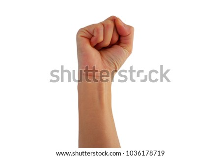 right hand of Asian woman is show fist up for mean fight isolated on background