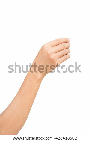 Right hand of female holding, pick up and reaching to something with smartphone, shot form little finger side, isolated on white background. #428418502