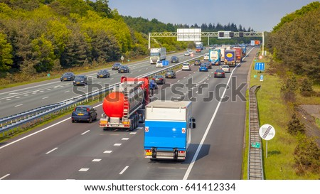 Right hand side Evening freeway Traffic on the A12 Motorway. One of the Bussiest highways in the Netherlands #641412334