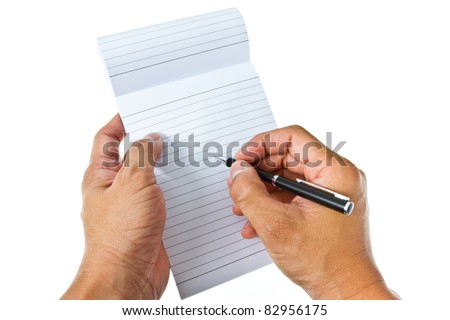 Right hand take a note on blank notepad