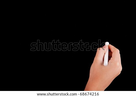 Right Hand writing on a blackboard in white