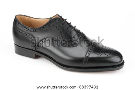 Right men's black shoe isolated on white background