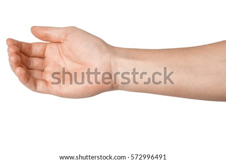 Right palm hand of a young man. Isolated on white background #572996491