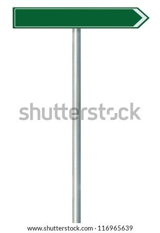 Right road route direction pointer this way sign, blank green isolated roadside signage, white traffic arrow empty frame roadsign, grey pole post