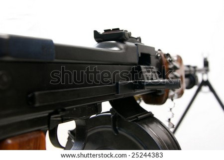 Right side appearance of the legendary Soviet weapon of WWII, Vietnam and Afghanistan wars - machine-gun RPD-44