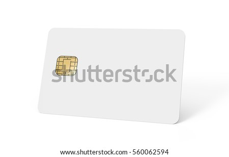 right tilt blank chip card, which can be designed in any way, isolated white background, 3d rendering Stock fotó ©