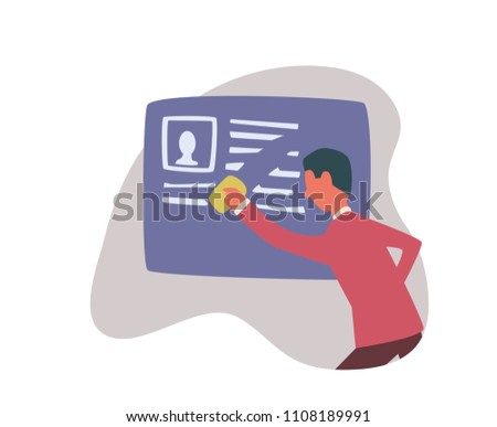 Right to be forgotten in the internet. A man erases information about himself. Concept illustration, isolated on white background. Raster version.