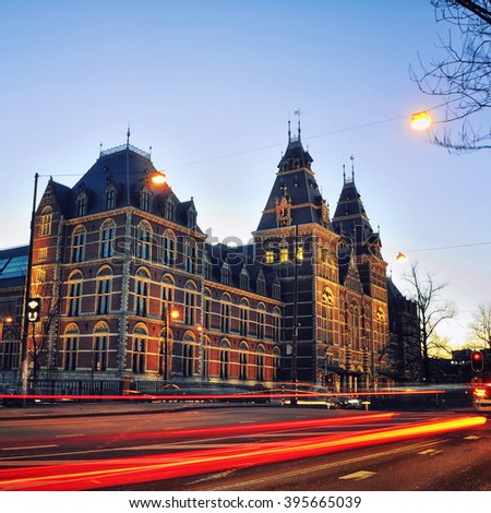 Rijksmuseum in Amsterdam, Netherlands. Night view of Dutch national museum, which has on display thousands objects of art and history and very popular among tourists