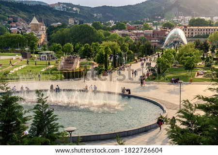 Rike Park, with the Bridge of Peace in the background, in the city of Tbilisi, capital of Georgia Stok fotoğraf ©