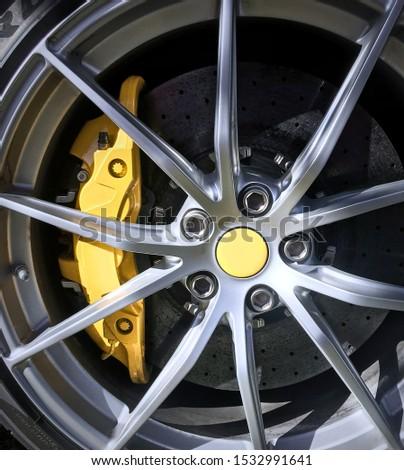 rim and brake caliper detail of a super sports car. #1532991641