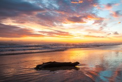 rimini sandy beach in early morning with colorfull sunrise nobody