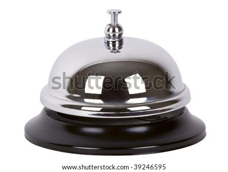 Ring alarm service silver metal chrome bell isolated on white.
