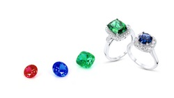 ring and gemstone jewelry on white background