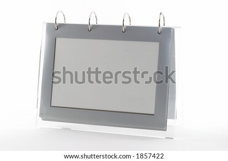 Ring binder empty photo frame, clear frame, gray, on white, seen from an angle, good for display